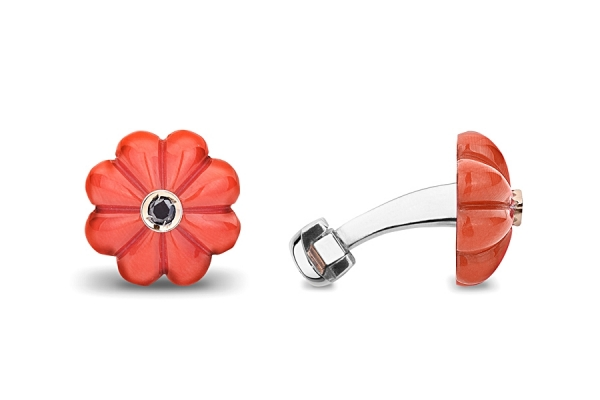 FLOWER IN CORAL -SILVER WITH BLACK DIAMOND