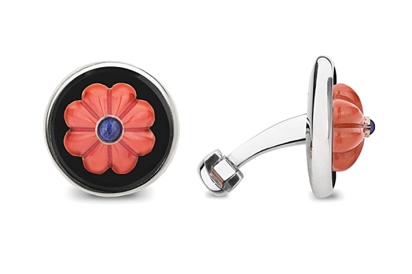 CORAL FLOWER WITH SAPPHIRES AND ONYX