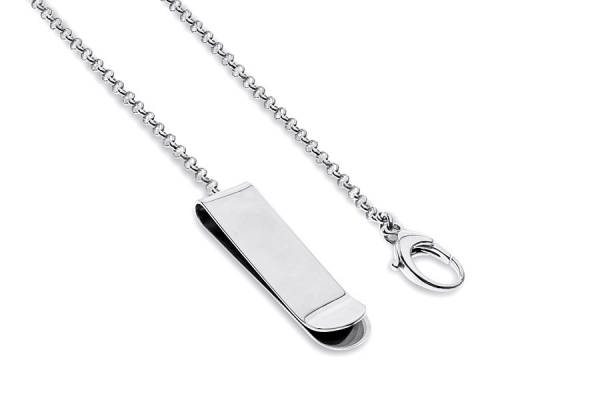 MONEY CLIP SILVER WITH CHAIN