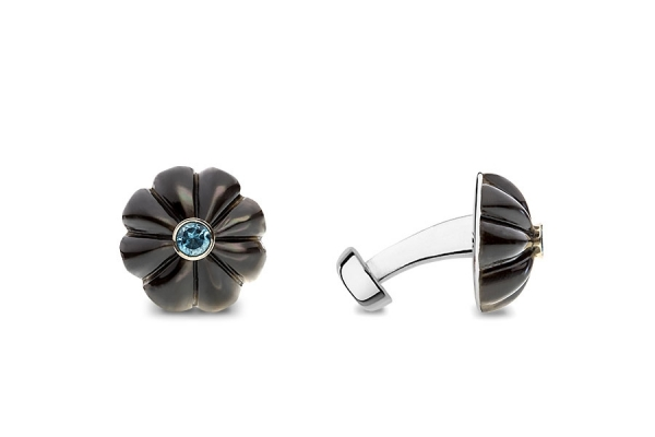 GREY MOTHER OF PEARL FLOWER WITH BLUE TOPAZ