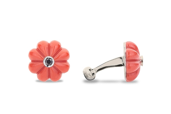 FLOWER IN CORAL AND WHITE GOLD